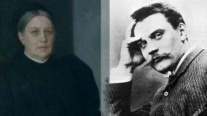 Kuvakollaasi: valokuva Albert Edelfeltistä ja maalaus äidistä Alexandra Brandtista