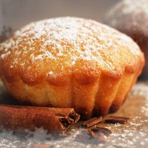 Tomusokerilla pölytetty muffinssi. Kanelitanko.