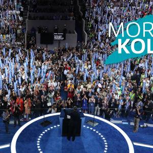Morgonkollen 28 juli 2016. Barack Obama talar under demokraternas partikonvent.