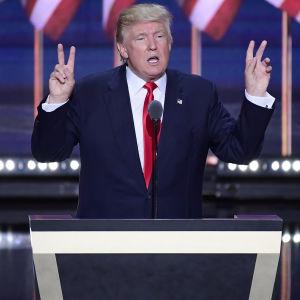 Donald Trump vid republikanernas partikonvent i Cleveland 2016.
