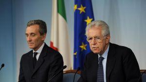 Finansminister Vittorio Grilli och premiärminister Mario Monti