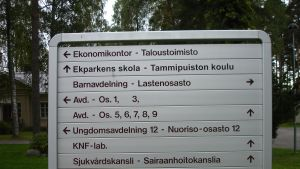Skyltar på Ekåsens sjukhusområde i Ekenäs.