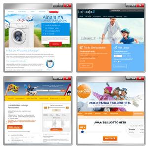 Kuvakollaasi pikalainoja tarjoavien yritysten verkkosivuista.