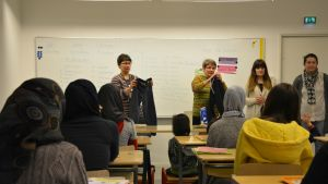 Benita Lidman, Ulrica Lindholm, Fanny Johansson och Saudina Hodzic ansvarar för undervisningen av de asylsökande barnen.