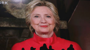 Hillary Clinton talade till partikonventet via satellitlänk.