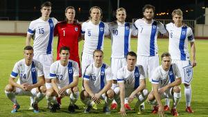 Finlands herrlandslag i fotboll den 13 januari 2016 i matchen mot Island.