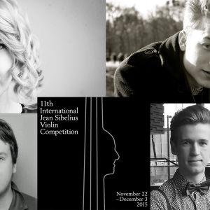 Vuoden 2015 Sibelius-viulukilpailuun valitut suomalaissoittajat Sara Etelävuori, Juho Valtonen, Pekko Pulakka ja Kasmir Uusitupa.