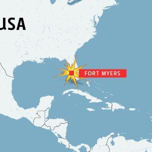 Karta över USA och Fort Myers.