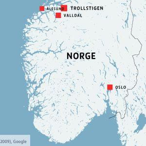 Karta över Valldal och Trollsund i Norge.
