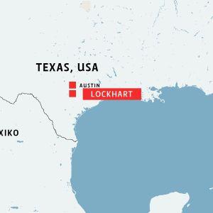 karta över Lockhart och Austin i Texas, Usa.