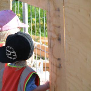 tittar genom staket