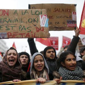 Demonstration mot ny arbetslag i Frankrike i mars 2016.