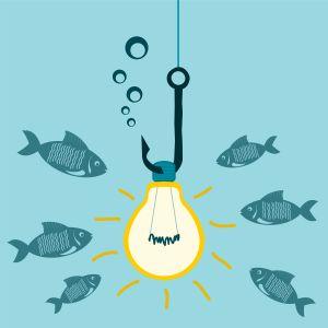 Kaloja katsiomassa syöttiä, joka hehkulamppu.