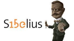 Sibeliuksen syntymäkaupunki -säätiön Sibelius 150 -juhlavuoden logoja.