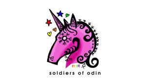 Soldiers of Odins logotyp är en rosa enhörning