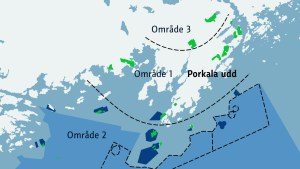 En karta över de olika områdena som Forstyrelsen föreslagit som Porkala nationalpark.