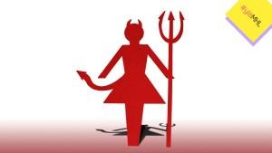 Paperinukke, joka kuvaa naista paholaisena.