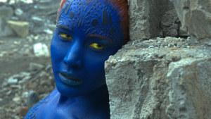 Jennifer Lawrence som den blå mutanten Raven.