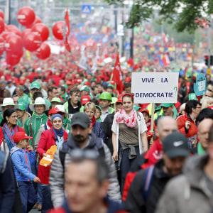 60 000 demonstrerade mot regeringen i Bryssel.