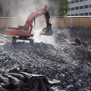 Byggnadsarbete i Sockenbacka i Helsingfors