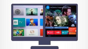 Kuvamanipulaatio: Tv-ruudussa Google TV:n ja Nexus Playerin käyttöliittymä