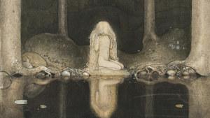 Johan Bauers illustration Ännu sitter Tuvstarr kvar och ser ner i vattnet