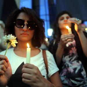 Egyptiska journalister hedrade minnet av offren i centrum av Kairo på måndagen