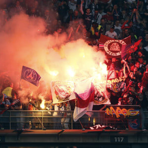 PSG supporters light flares during the Coupe de France final match between Paris Saint Germain (PSG) and Olympique of Marseille (OM) at the Stade de France in Saint-Denis outside Paris, France, 21 May 2016