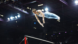 Oskar Kirmes på räck under VM i Glasgow 2015