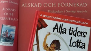Bild av Birgitta Theanders doktorsavhandling om flickboken i Sverige och en bild av Merri Viks Alla tiders Lotta-pärm.
