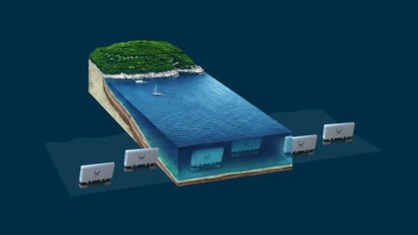 Havainnekuva AaltoRO-järjestelmästä jolla valmistetaan merivedestä juomavettä