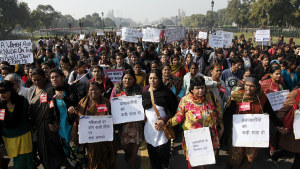 Demonstranter i New Delhi 21 december