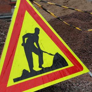 Varning för vägarbete.