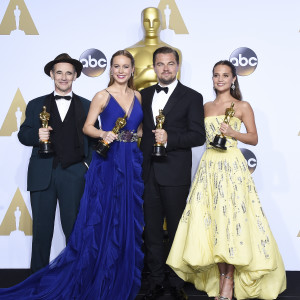 Marl Rylance, Brie Larson, Leonardo DiCaprio och Alicia Vikander.