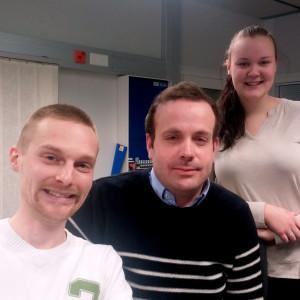 Niklas Svartbäck, Victor Ohlis och Fanny Hästbacka.