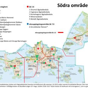 Helsingfors stads karta över södra områdets daghem och skolor 2015.