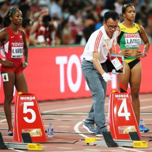 Kendra Harrison på startlinjen i VM 2015