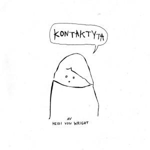 """Piirretty möykyn muotoinen hahmo, jolla puhekuplassa lukee """"kontaktyta"""""""