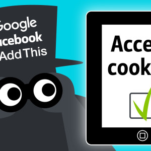 Piirroshahmo, joka hatussa logot Google, Facebook ja AddThis. Accept Cookies -teksti.