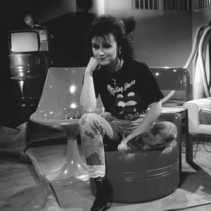 Rockstop-ohjelman juontaja Heli Nevakare vuonna 1989