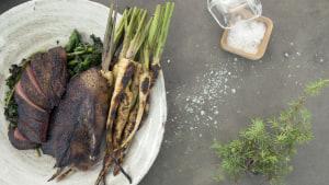 Helstekt gräsand med konjakssås och palsternackor