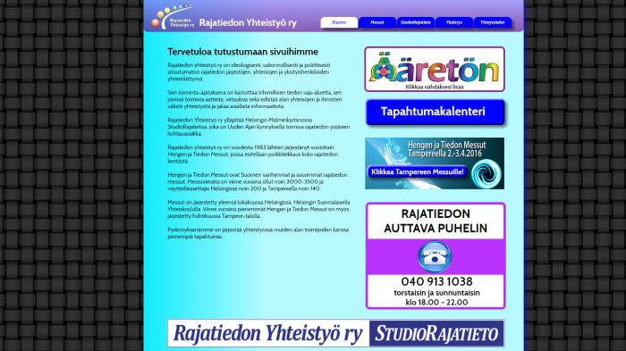 Kuvakaappaus Rajatieto ry:n verkkosivuista