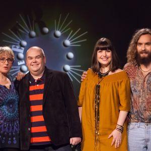 De Eurovisa Ami Aspelund, Johan Lindroos, Eva Frantz och Paul Uotila.
