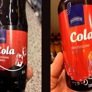 Rainbow colaa pullossa ja tölkissä
