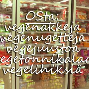 Kaupan kylmäkaappi ja vegaanisten einesten nimiä, grafiikka.