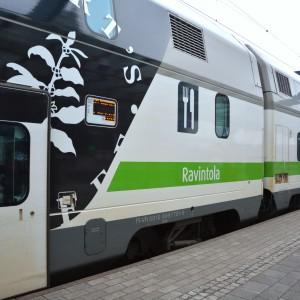 Restaurangvagn på tåg.