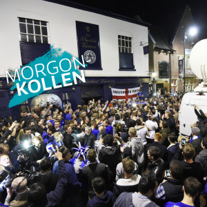 Leicester-anhängare firar segern i Premier League.