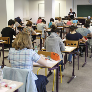 Franska elever vid gymnasieskola i Montpellier.
