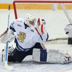 Mikko Koskinen vaktade målet mot Ryssland inför VM.