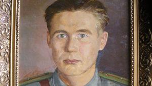 Matti Putkinen avbildad i olja under spionutbildningen på Karelska näset.